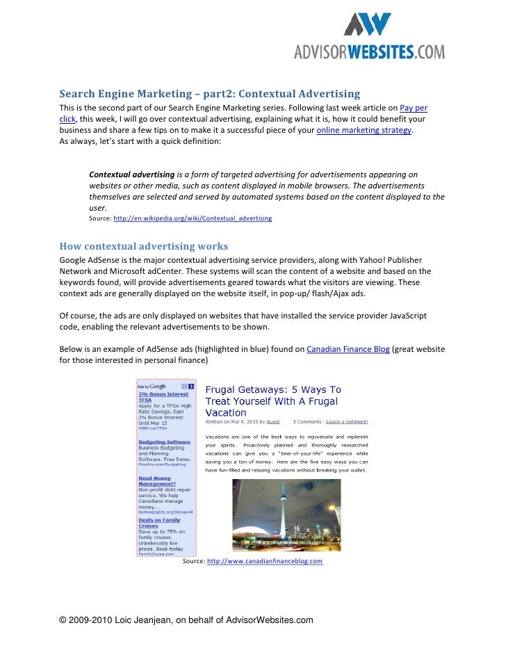 Search Engine Marketing – part2: Contextual Advertising This is the second part of our Search Engine Marketing series. Fol...