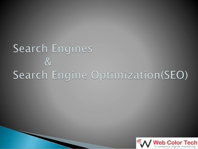 Agenda • What is a Search Engine? • Examples of popular Search Engines • Search Engine statistics • Why is Search Engine m...