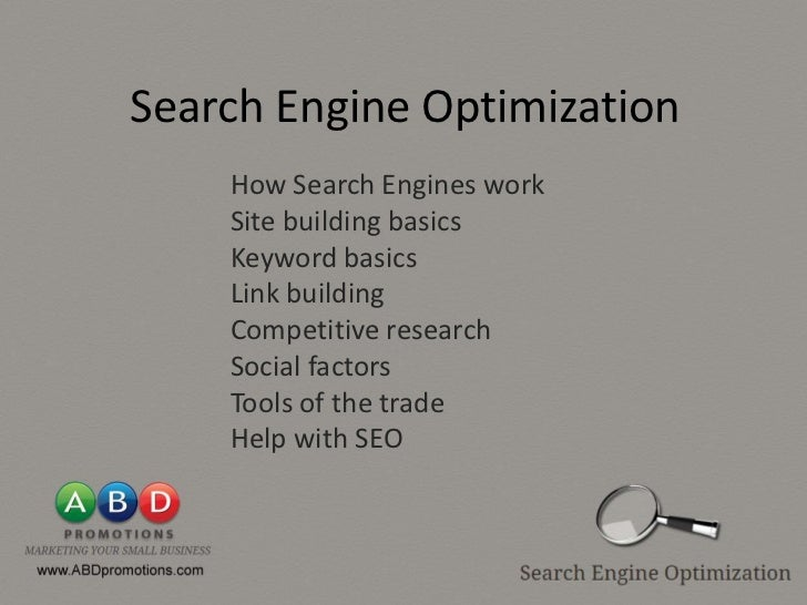 Search Engine Optimization    How Search Engines work    Site building basics    Keyword basics    Link building    Compet...