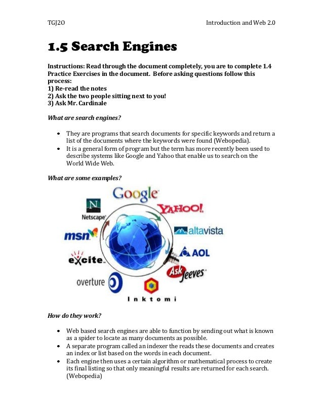 TGJ2O                                                        Introduction and Web 2.01.5 Search EnginesInstructions: Read ...