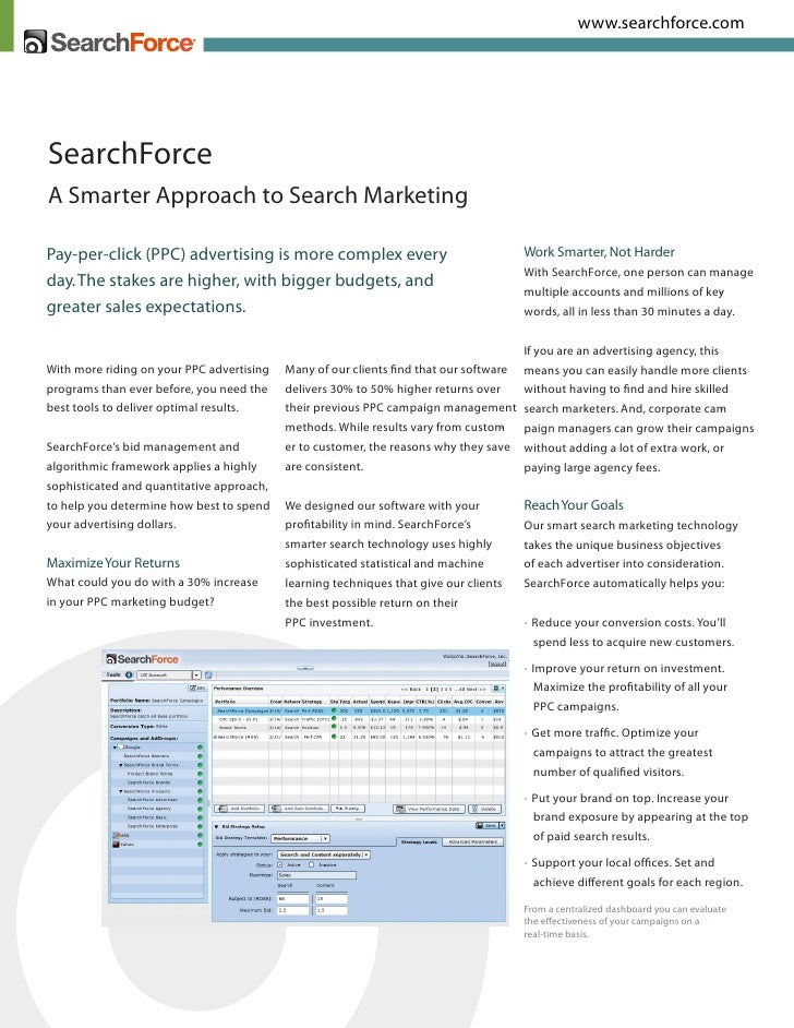 www.searchforce.com     SearchForce A Smarter Approach to Search Marketing  Pay-per-click (PPC) advertising is more comple...