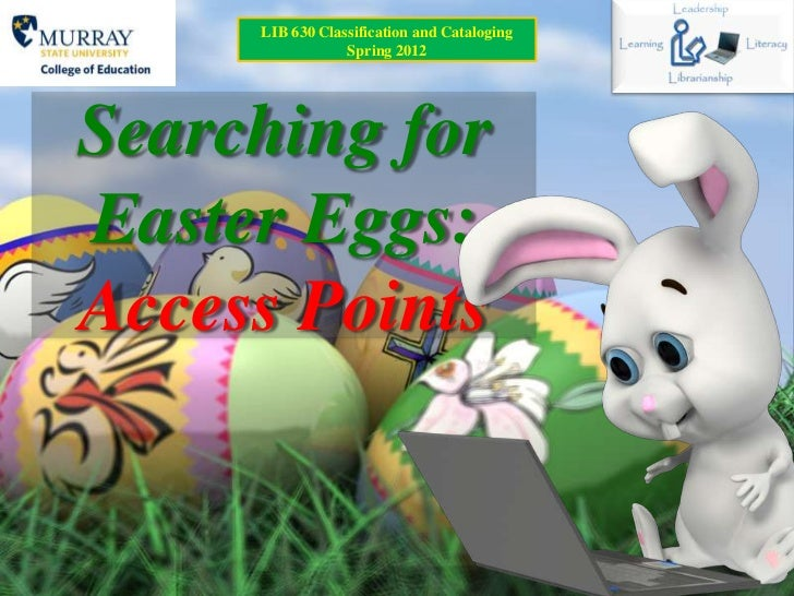 LIB 630 Classification and Cataloging                 Spring 2012Searching forEaster Eggs:Access Points