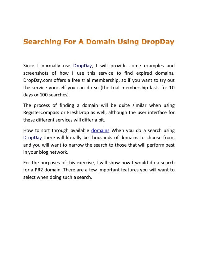 Searching for a domain using drop day