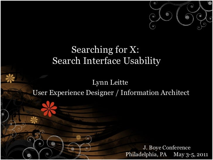 Searching for X: Search Interface Usability