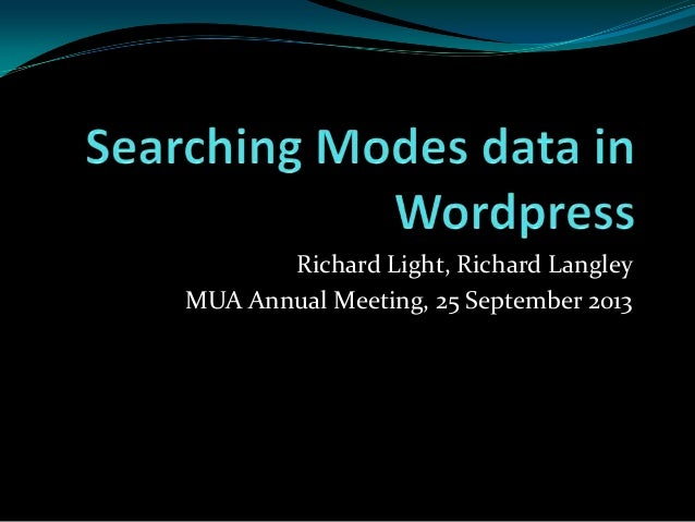 Searching Modes data in WordPress