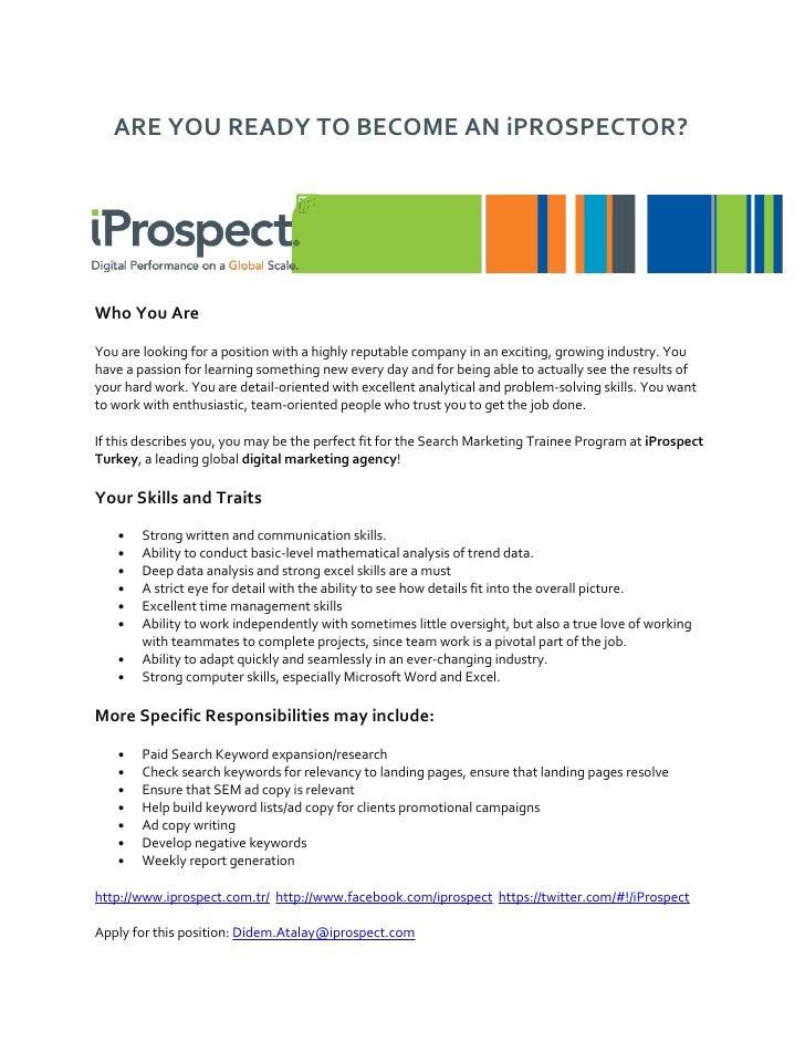 Search marketing trainee program