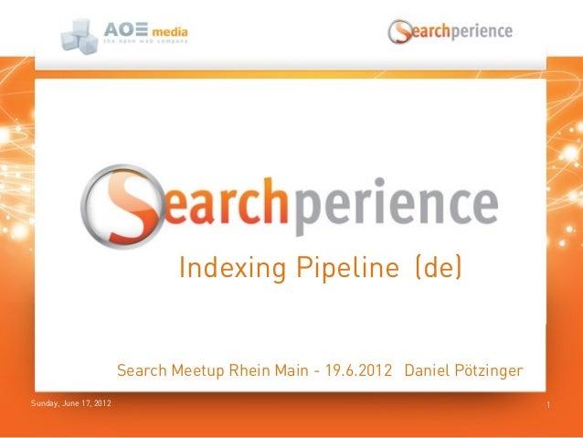 Sunday, June 17, 2012 1Indexing Pipeline (de)Search Meetup Rhein Main - 19.6.2012 Daniel Pötzinger