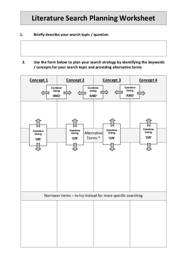 literature search worksheet Handouts, worksheets, & activities for information literacy  basic search tips:  worksheet with guided questions for source evaluation.