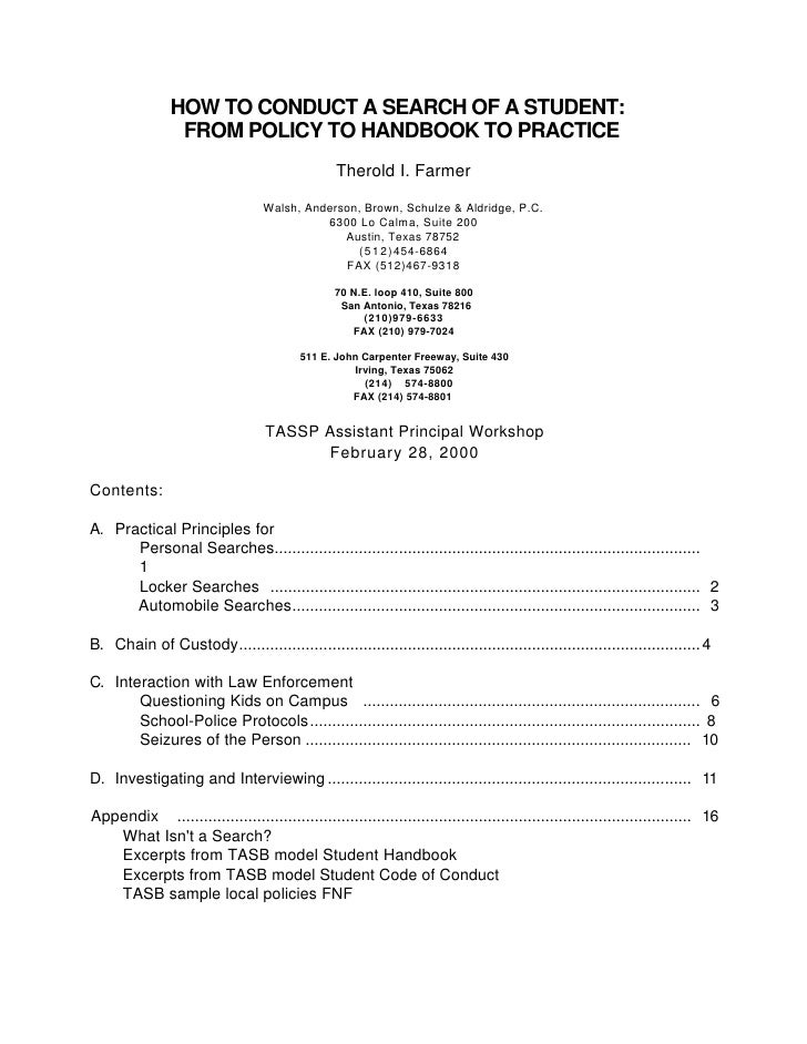 HOW TO CONDUCT A SEARCH OF A STUDENT:                  FROM POLICY TO HANDBOOK TO PRACTICE                                ...