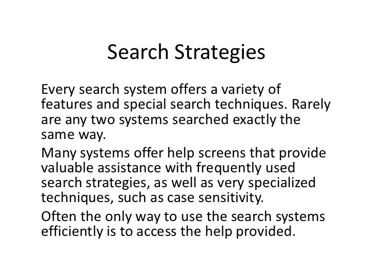 E-LEARN: Search Strategies