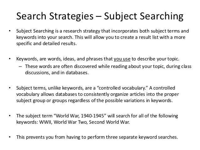 Search strategies – subject searching
