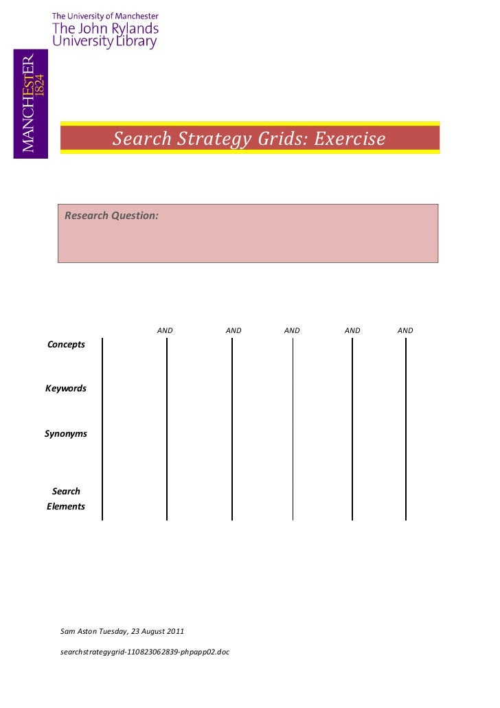 Search strategy grid