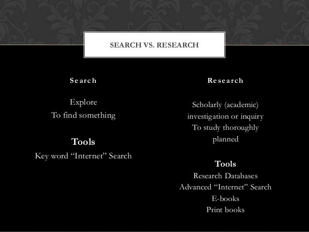SEARCH VS. RESEARCH  Search  Research  Explore To find something  Scholarly (academic) investigation or inquiry To study t...