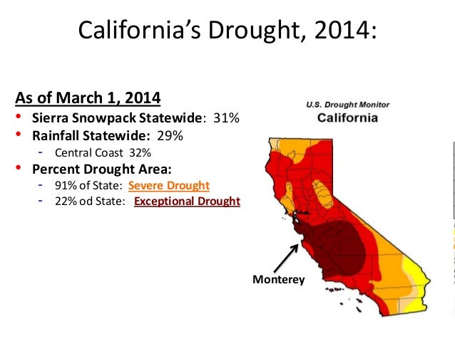 California's Drought, 2014: Monterey As of March 1, 2014 • Sierra Snowpack Statewide: 31% • Rainfall Statewide: 29% - Cent...