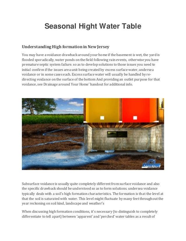 seasonal hight water tableunderstanding high formationin newjerseyyou