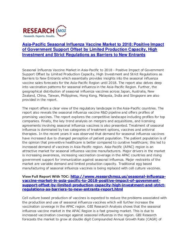 ResearchMoz.us: Seasonal Influenza Vaccine Market in Asia-Pacific to 2018