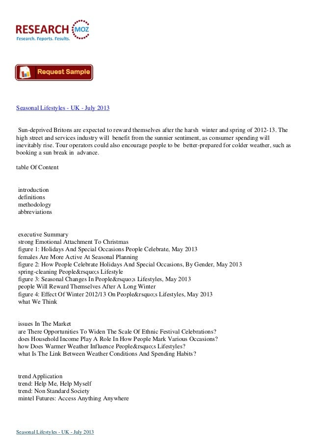 Seasonal Lifestyles - UK - July 2013:Industry Analysis Report