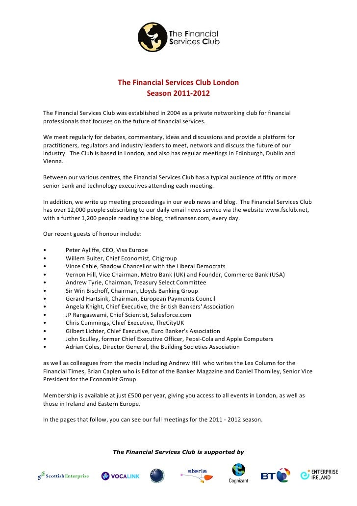 The FSCLub Season Events Outline 2011 2012