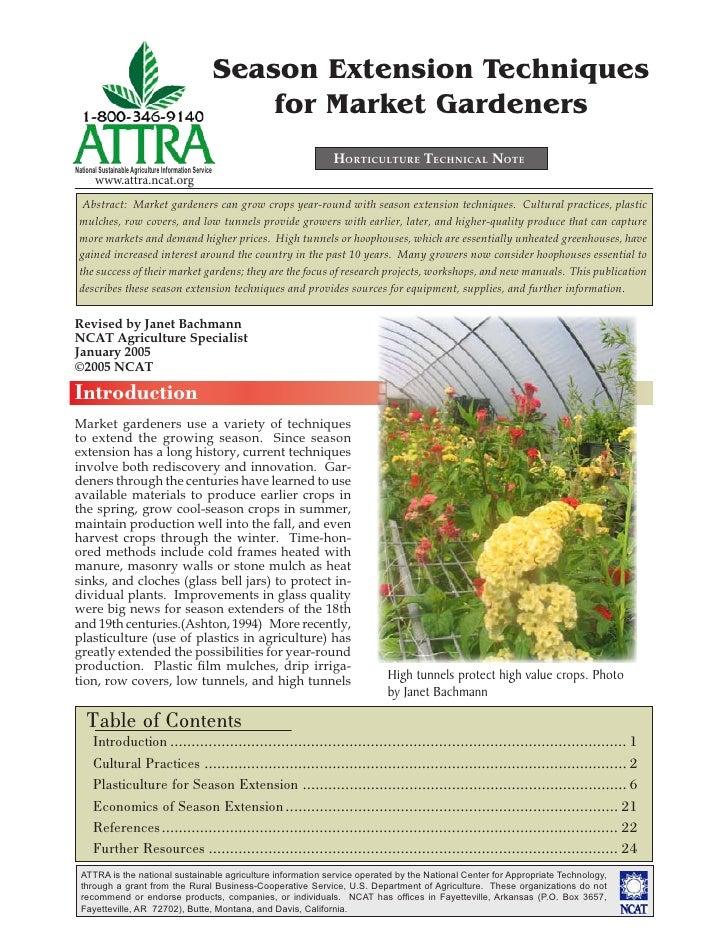 Season Extension Techniques                                                           for Market Gardeners                ...