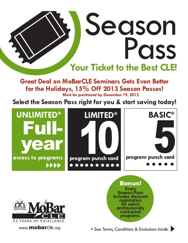 Season                                 Pass                         Your Ticket to the Best CLE!   Great Deal on MoBarCLE ...