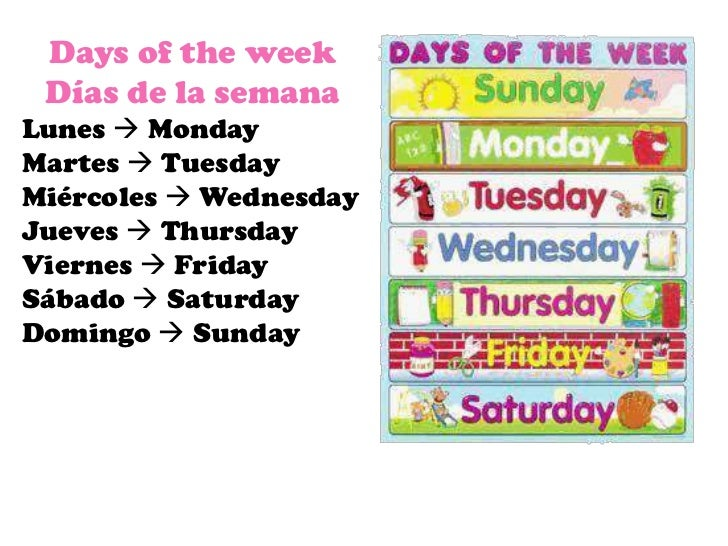 Days of the week Días de la semanaLunes  MondayMartes  TuesdayMiércoles  WednesdayJueves  ThursdayViernes  FridaySába...
