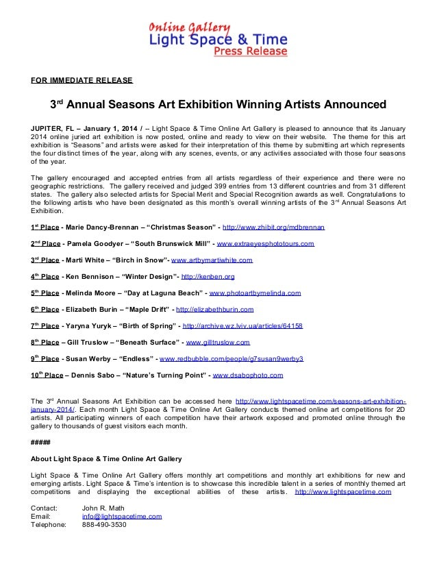3rd Annual Seasons Art Exhibition Winning Artists Announced