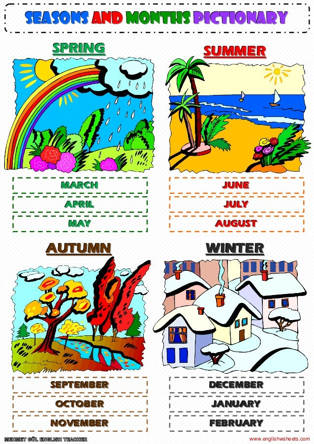 Seasons and months pictionary poster worksheet