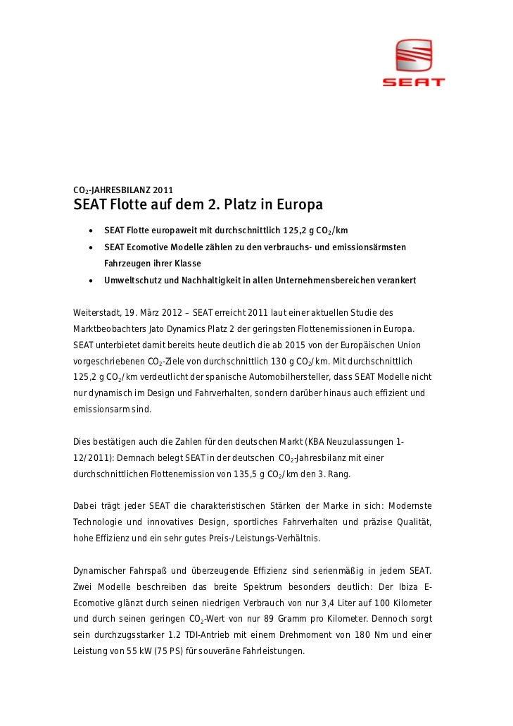 CO2-JAHRESBILANZ 2011SEAT Flotte auf dem 2. Platz in Europa      SEAT Flotte europaweit mit durchschnittlich 125,2 g CO2/...