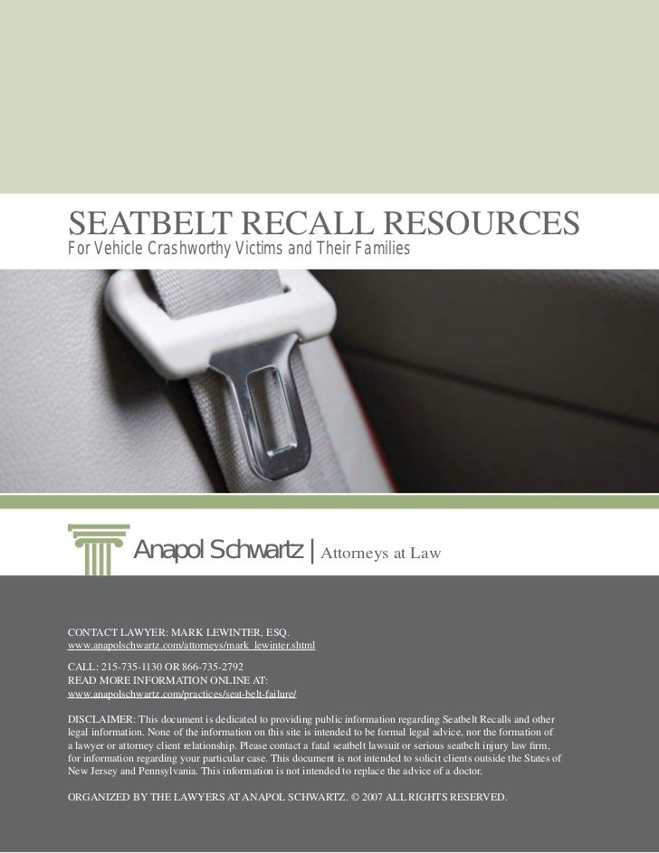 Seatbelt Recalls Lawyers Guide
