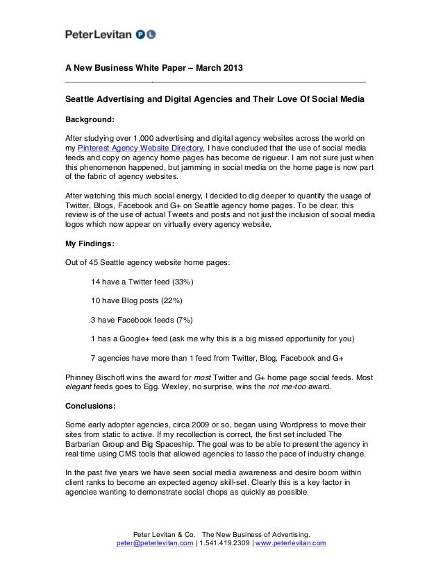 A New Business White Paper – March 2013______________________________________________________________Seattle Advertising a...