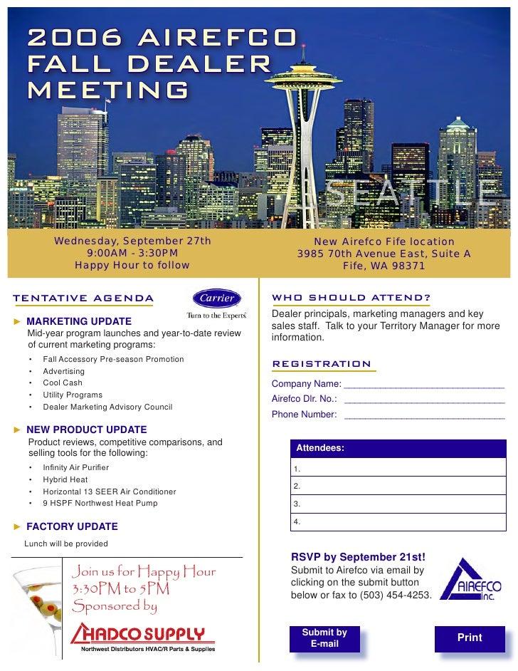 Carrier Flyer for Seattle Dealer Meeting