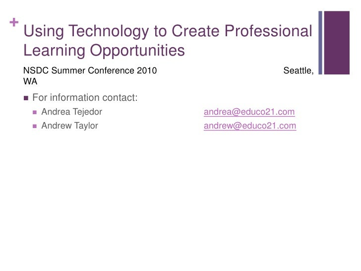 Using Technology to Create Professional Learning Opportunities