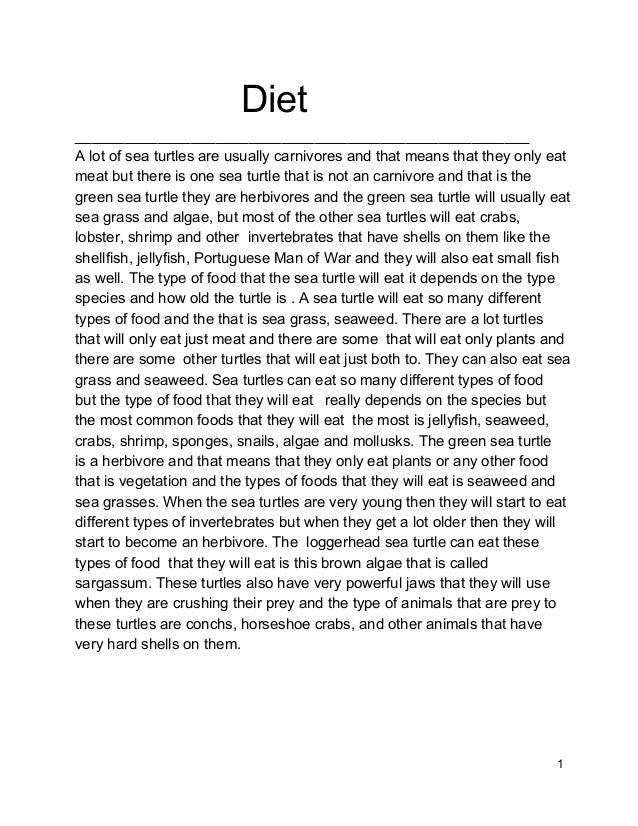 Diet _______________________________________________________ Alotofseaturtlesareus...