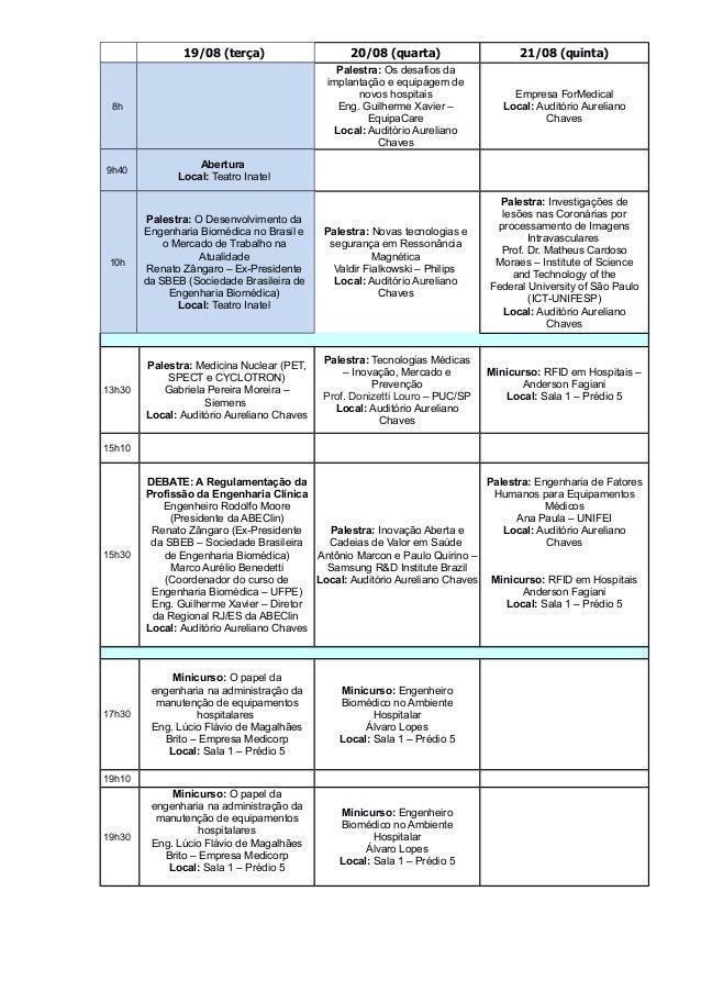 19/08 (terça) 20/08 (quarta) 21/08 (quinta) 8h Palestra: Os desafios da implantação e equipagem de novos hospitais Eng. Gu...