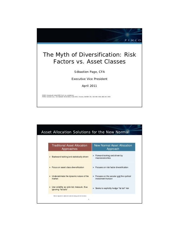 The Myth of Diversification: Risk    Factors vs. Asset Classes                                                            ...