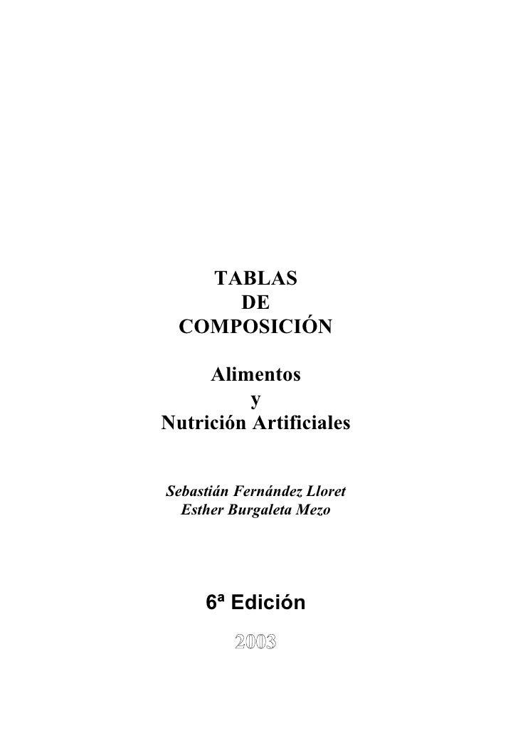 TABLAS       DE   COMPOSICIÓN       Alimentos           y Nutrición Artificiales   Sebastián Fernández Lloret   Esther Bur...