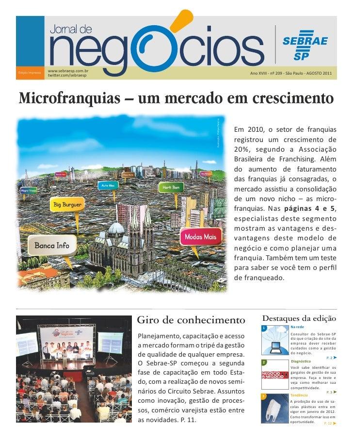 Sebrae Jornal de Negocios Agosto 2011 Microfranquias Tutores Higienopolis