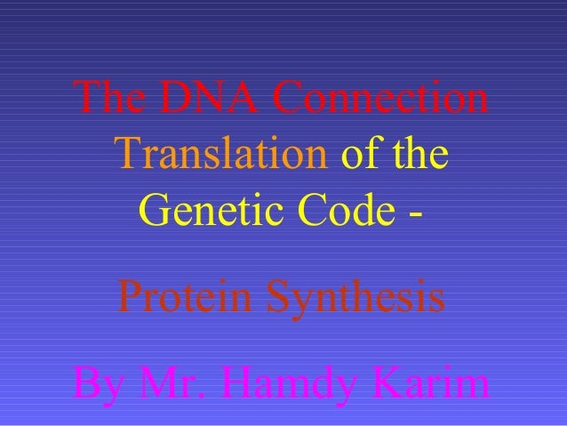 The DNA ConnectionTranslation of theGenetic Code -Protein SynthesisBy Mr. Hamdy Karim