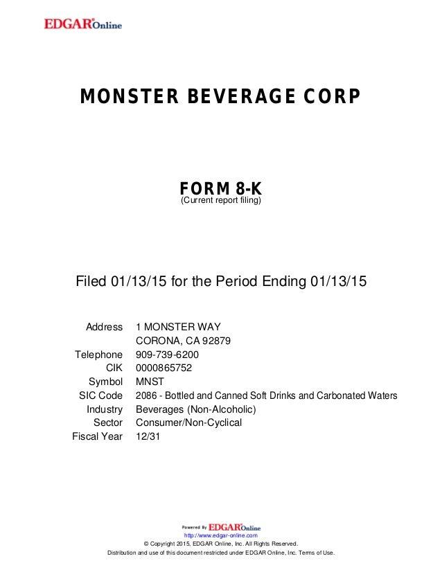 Monster beverage corpform 8 k current report filing filed 01 13 15 for