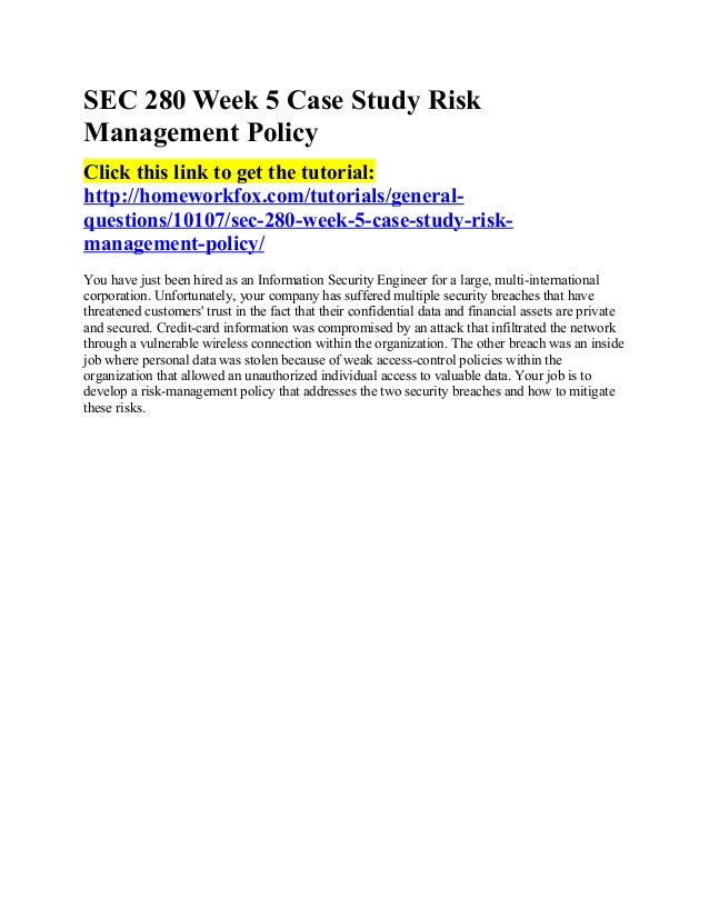 "case study 3 risk Case study 3: risk management on a satellite development project due week 8 and worth 280 points read the case titled: ""risk management on a satellite development project"" found at the bottom of this page."
