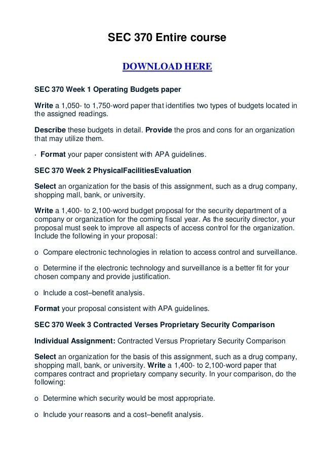 SEC 370 Entire course                            DOWNLOAD HERESEC 370 Week 1 Operating Budgets paperWrite a 1,050- to 1,75...