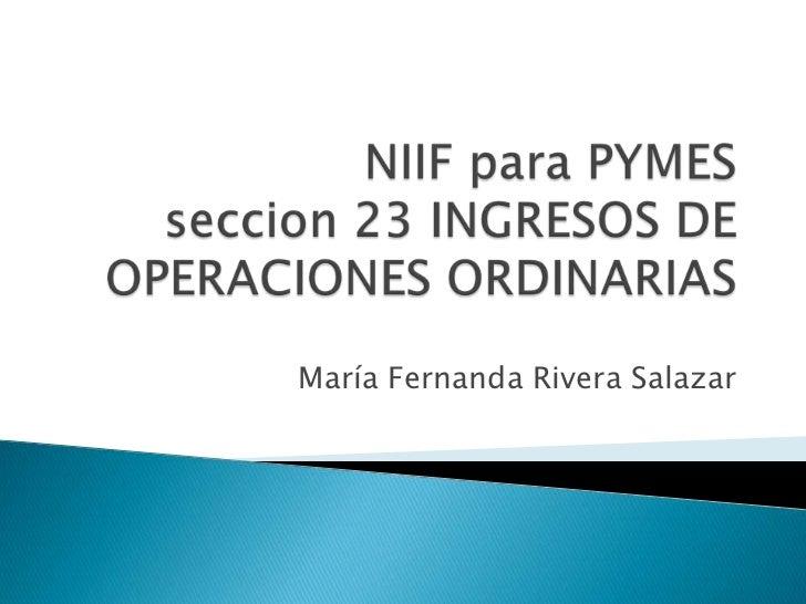 Sección 23 ingresos de operaciones ordinarias