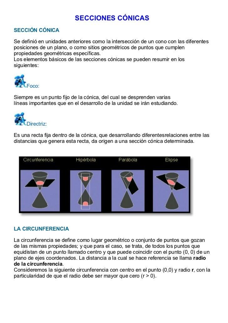 SECCIONES CÓNICASSECCIÓN CÓNICASe definió en unidades anteriores como la intersección de un cono con las diferentesposicio...