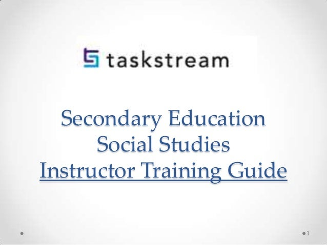 Secondary Education Social Studies Instructor Training Guide 1