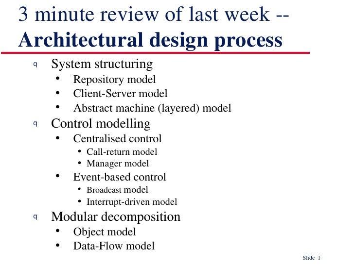 3 minute review of last week --  Architectural design process <ul><li>System structuring </li></ul><ul><ul><li>Repository ...
