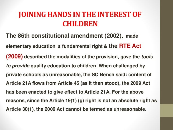 JOINING HANDS IN THE INTEREST OF                CHILDRENThe 86th constitutional amendment (2002), madeelementary education...
