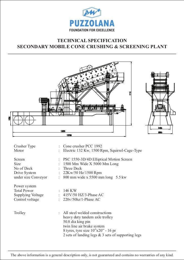TECHNICAL SPECIFICATION    SECONDARY MOBILE CONE CRUSHING & SCREENING PLANT  Crusher Type                  : Cone crusher ...