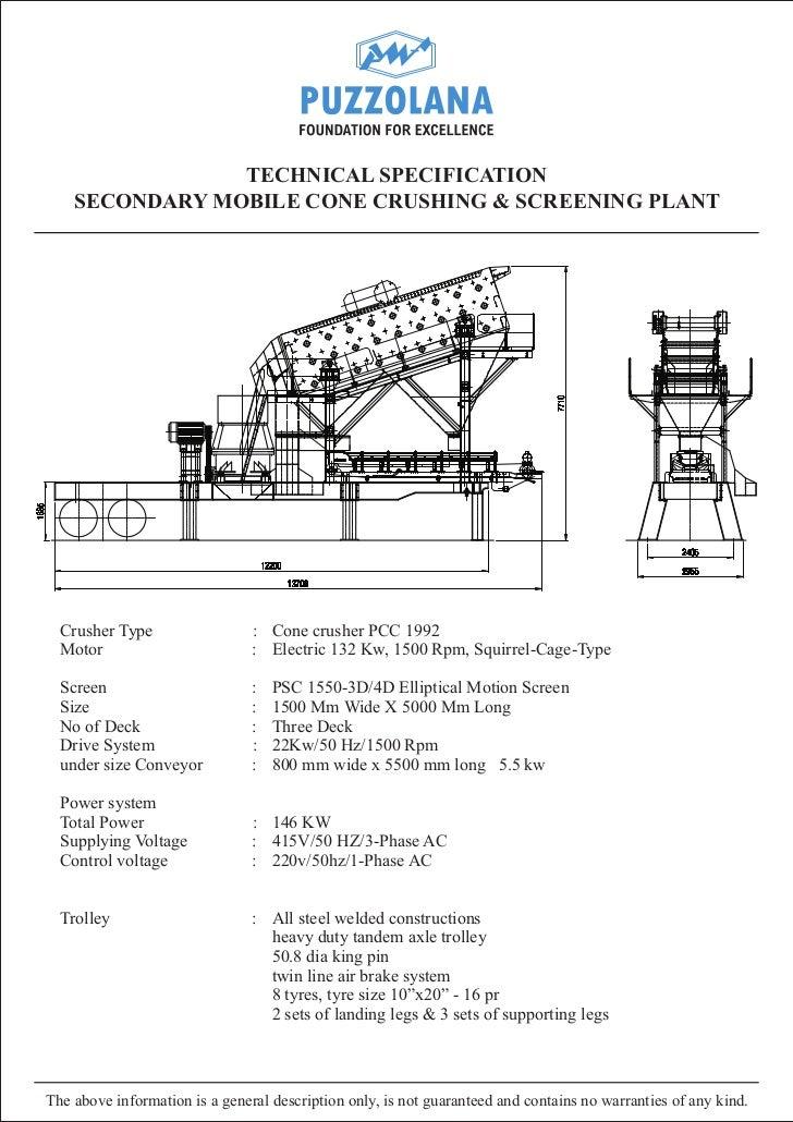 Secondary cone mobile plant pcc 1992