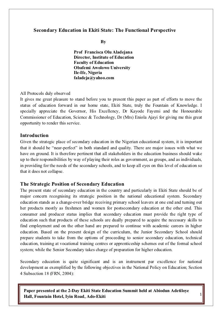 Secondary Education in Ekiti State: The Functional Perspective                                              By            ...