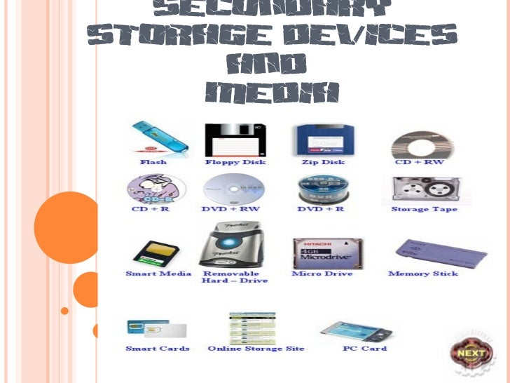 Storage Devices Secondary Storage Devices And
